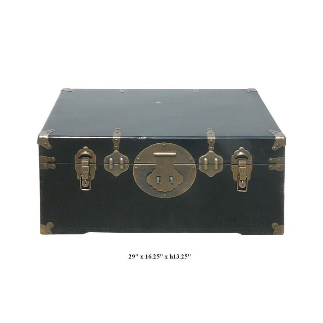 Camphor Wood Black Lacquer Trunk W/Bronze Hardware - Image 2 of 4