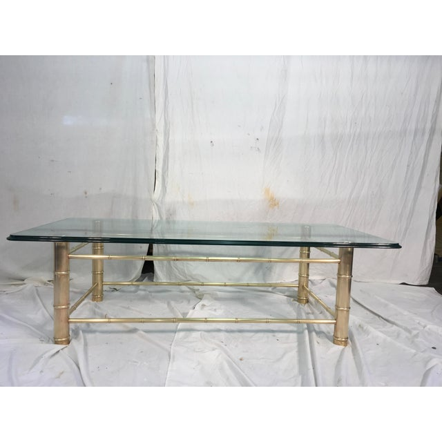 Brass Faux Bamboo Coffee Table: Brass Faux Bamboo & Glass Coffee Table