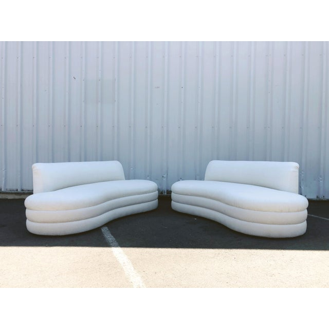 Antique White Curved Couches After Vladimir Kagan - a Pair For Sale - Image 8 of 13