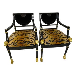 Regency Style Black Ebonized and Gilt Decorated Chairs with Animal Print Cushion - a Pair For Sale
