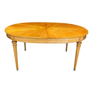 French Louis XVI Style Dining Table With Sunburst Top and Leaves For Sale