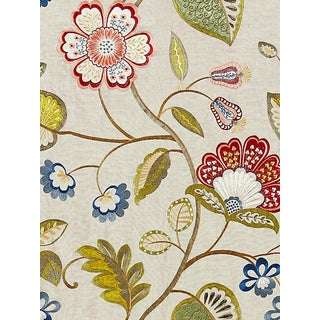 Sample, Scalamandre Willowood Embroidery, Bloom Fabric For Sale