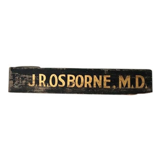 Antique Doctor's Trade Sign, Gold on Black Sand Paint For Sale