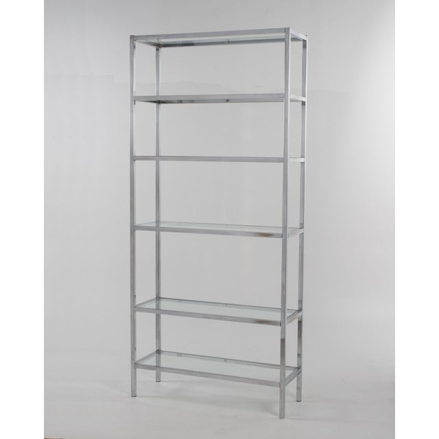 1970s Milo Baughman Style Mid-Century Chrome Glass Etagere For Sale - Image 11 of 11