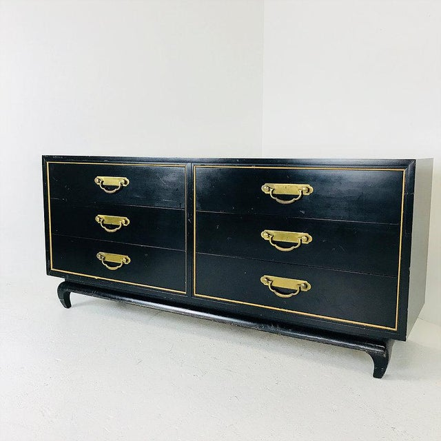 American of Martinsville Black & Gold Asian Style Dresser by American of Martinsville For Sale - Image 4 of 7