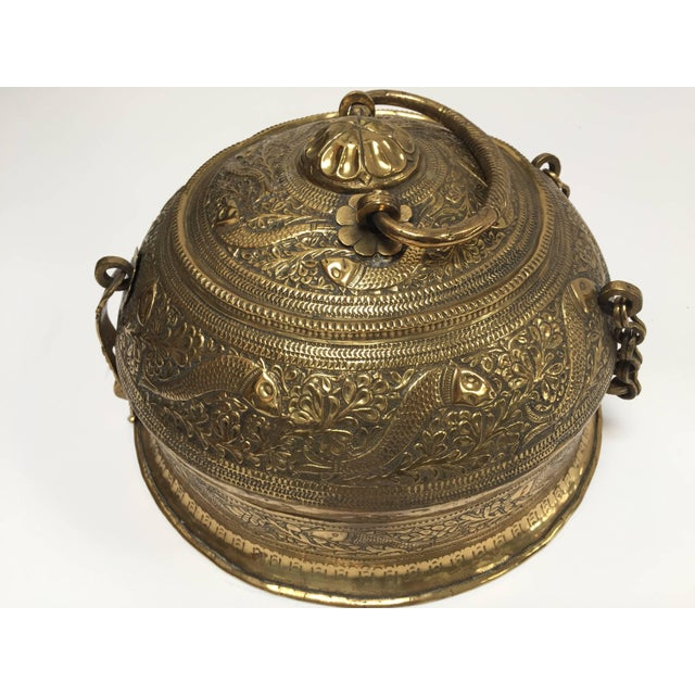 Mid 19th Century Decorative Large Round Anglo-Indian Brass Box Tea Caddy For Sale - Image 5 of 10