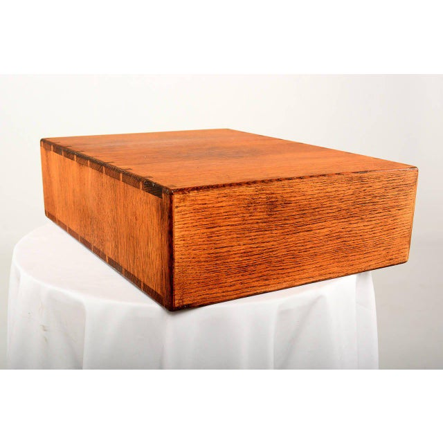 White Vintage Oak File Box For Sale - Image 8 of 9