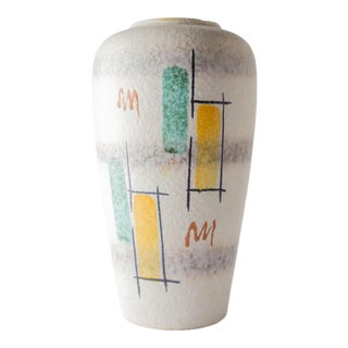 Large German Mid Century Hand Painted Vase For Sale