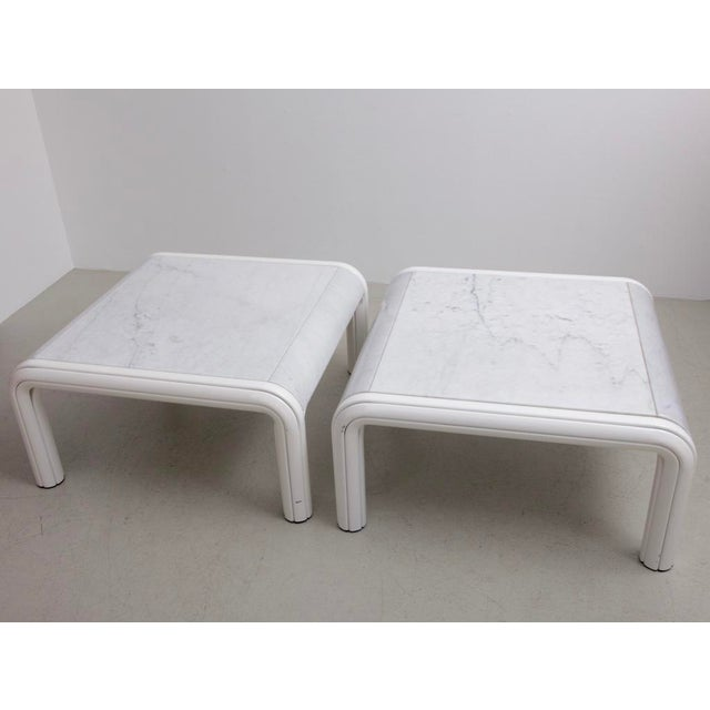Set of two coffee or sofa tables by Gae Aulenti for Knoll from the 1970s. Rare version with white marble table top! Very...