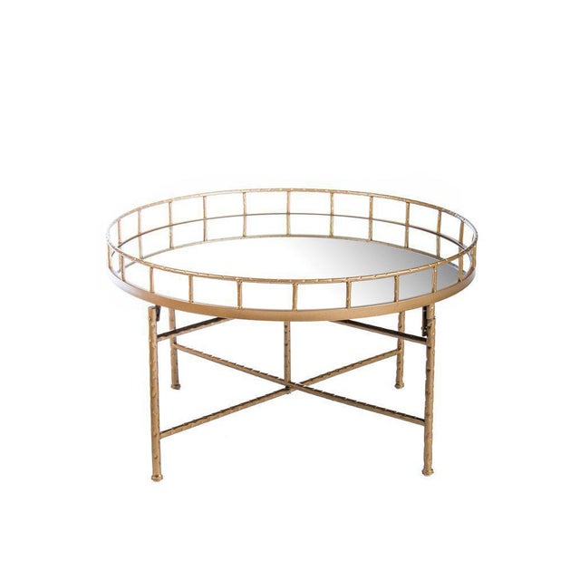 """New mirrored gold table. More than 1 available. Materials : Glass, metal Measurements: 16.5""""h x 28"""" w x 28"""" d, 19 pounds...."""