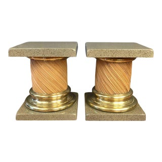 Lacquered Top Reed & Brass Columnar End Tables - A Pair