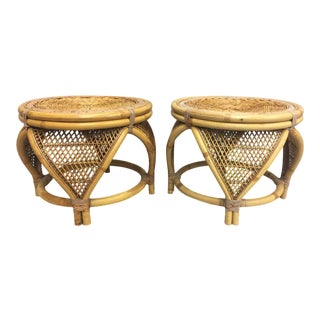 Round Rattan Stools - A Pair
