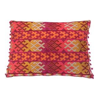 Pulitzer Linen Ombré Silk Embroidered Aztec Pillow For Sale