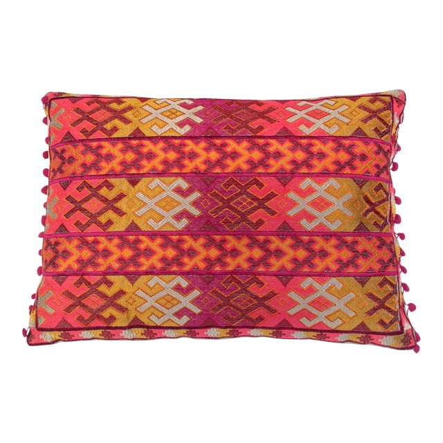 Pulitzer Linen Ombré Silk Embroidered Aztec Pillow - Image 1 of 3