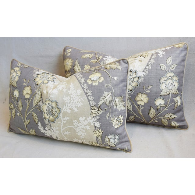 "Purple Floral Linen & Velvet Feather/Down Pillows 26"" X 16"" - Pair For Sale - Image 8 of 12"