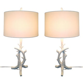 White Faux Bois Bedside Lamps Inspired by Serge Roche - a Pair Mid Century Modern Palm Beach Boho Chic Branch Tree Tropical Coastal For Sale