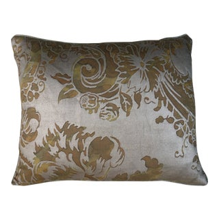 Fortuny Avocado & Silvery Gold Pillows-Pair For Sale