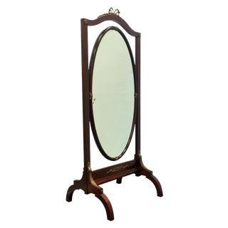French Empire Mahogany Psyche or Cheval Mirror