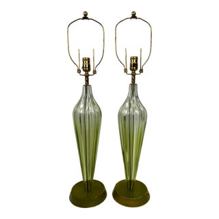 Mid-Century Murano Seguso Green Ribbed Art Glass Lamps - a Pair For Sale