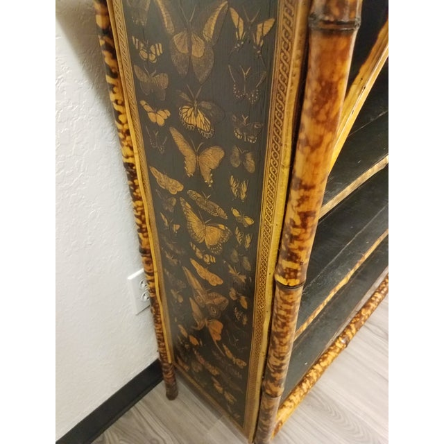 Late 19th Century Antique English Bamboo Decoupaged Bookcase With Butterflies For Sale - Image 5 of 13
