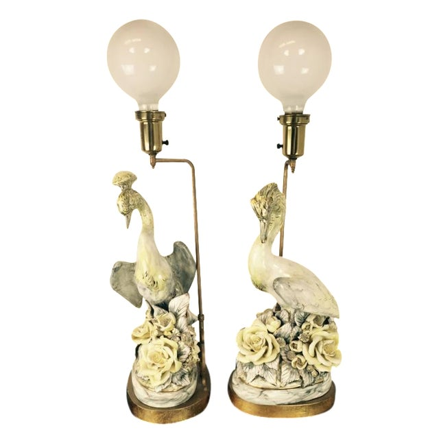 Freeman Leidy Ceramic Crane Lamps - Pair For Sale