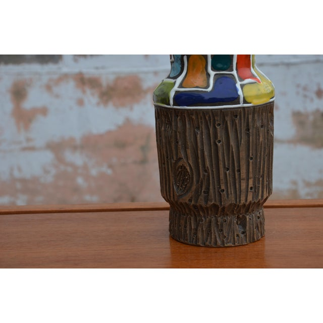 Mid-Century Modern Bitossi for Raymor Mondrian & Wood Themed Vase For Sale - Image 3 of 10