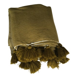 Moroccan Berber Olive and Gold Pompom Blanket For Sale