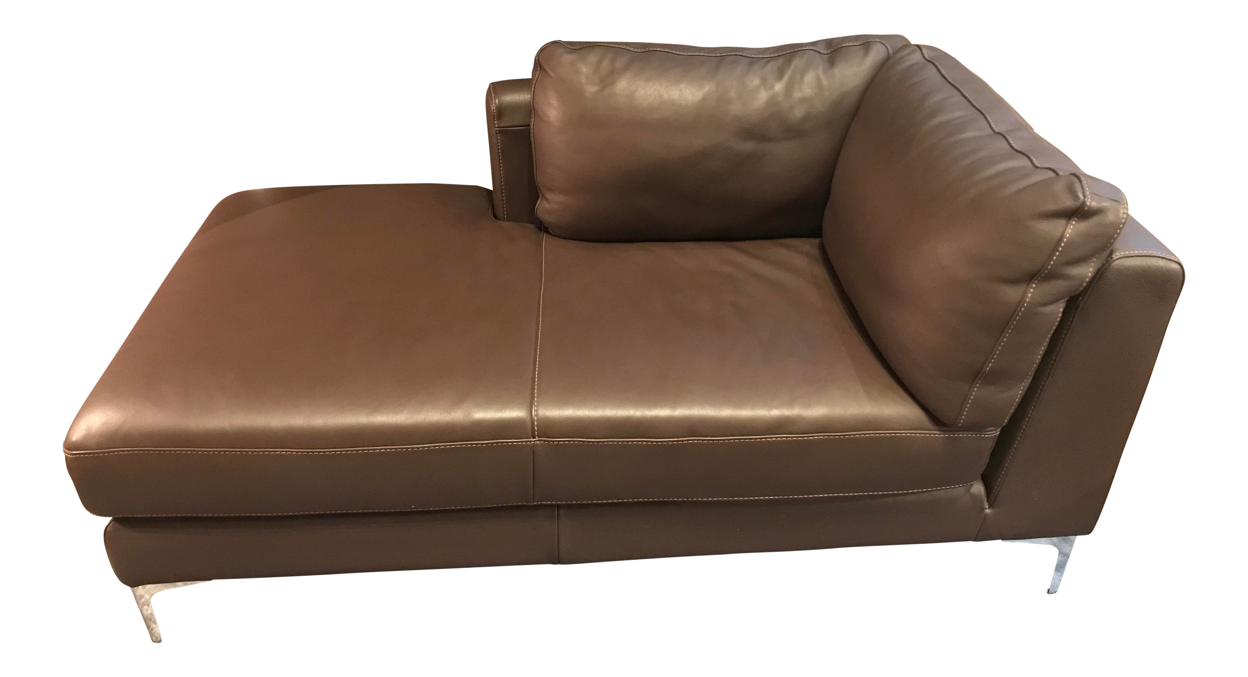 Contemporary Design Within Reach Chocolate Brown Leather Chaise