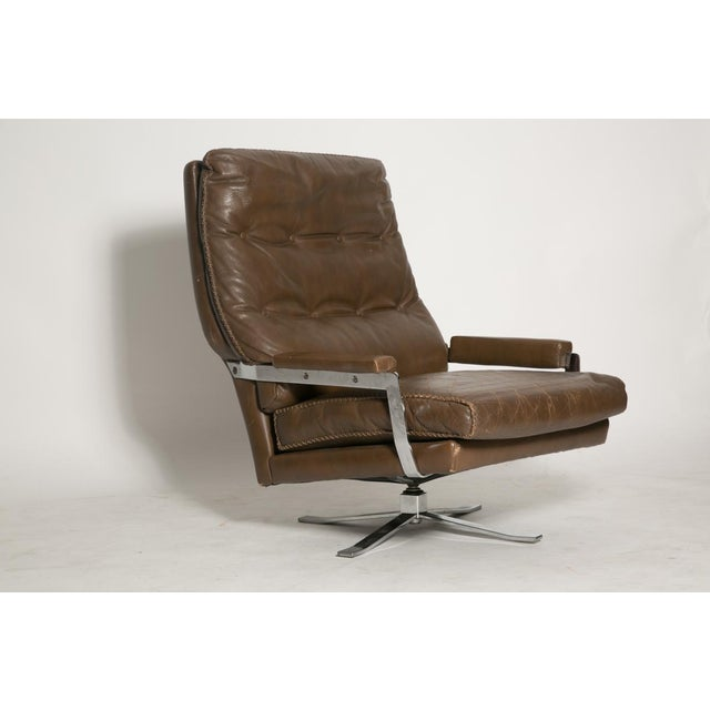 Brown Arne Norell Leather Club Chairs - Set of 2 For Sale - Image 8 of 9
