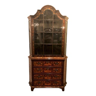 Rare Antique Early 19th Century Dutch Marquetry Cabinet With Original Glass, Circa 1800. For Sale