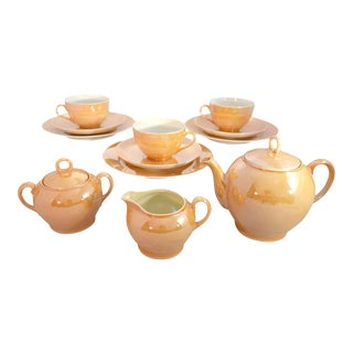 Gold Lusterware Tea Set, Czech Slovakia - 12 Piece Set For Sale