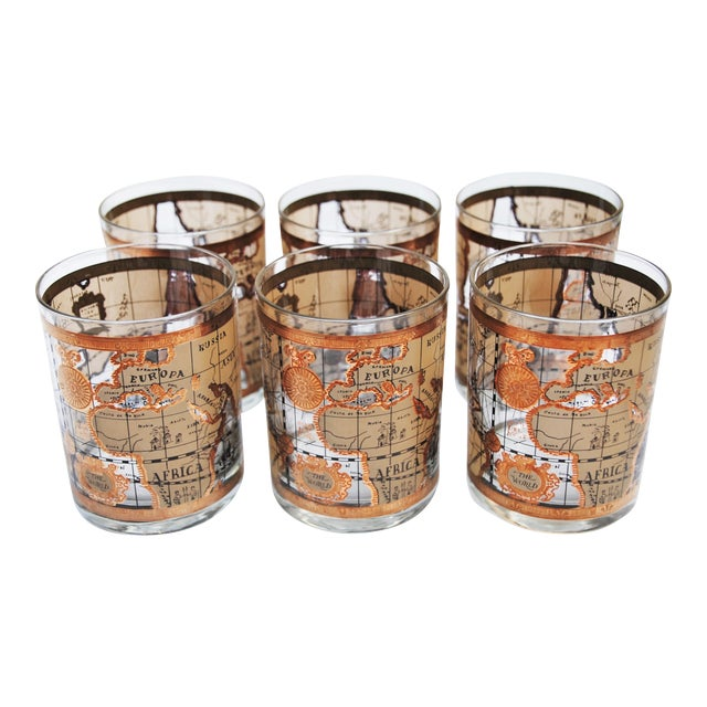 Vintage Cera World Map Old Fashioned Glasses Chairish - Antique looking world maps for sale