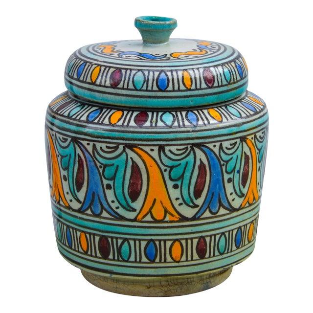 Moorish-Patterned Ceramic Lidded Jar For Sale