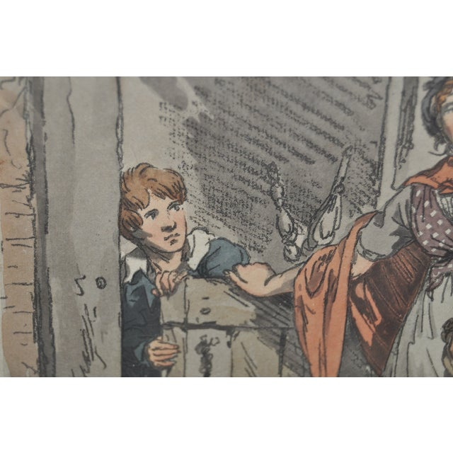 Cottage Girl Hand Colored Engraving C.1807 For Sale - Image 4 of 11
