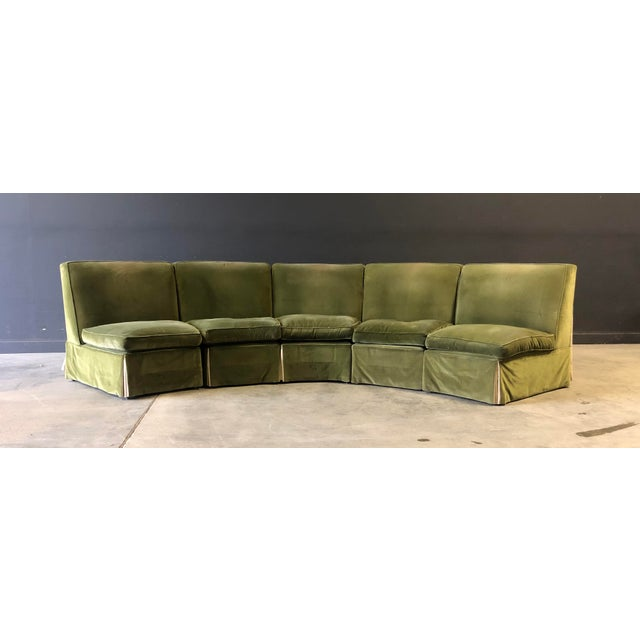 Vintage Velvet Green Sectional For Sale - Image 10 of 10