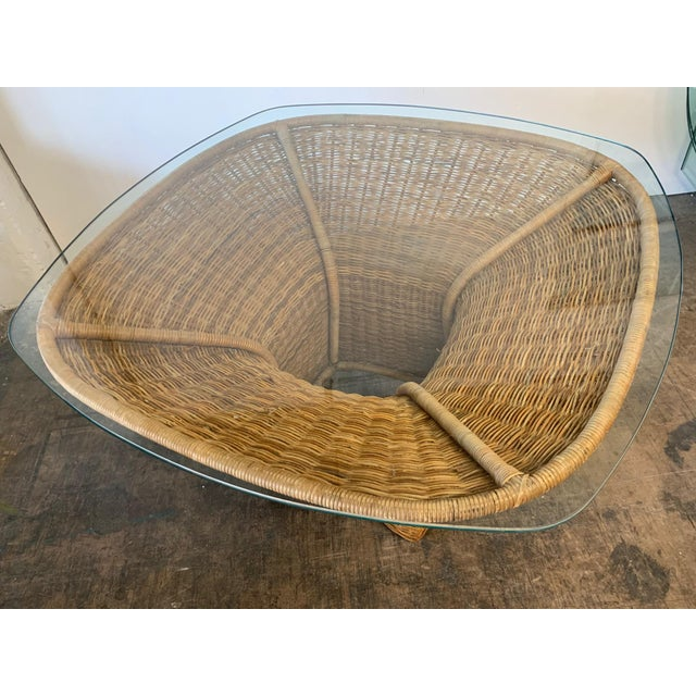 1970s Sculptural Wicker Dining Table For Sale - Image 5 of 7