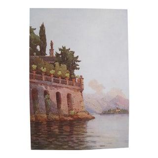 1905 Original Italian Print - Italian Travel Colour Plate - a Terrace Wall, Lago Maggiore For Sale