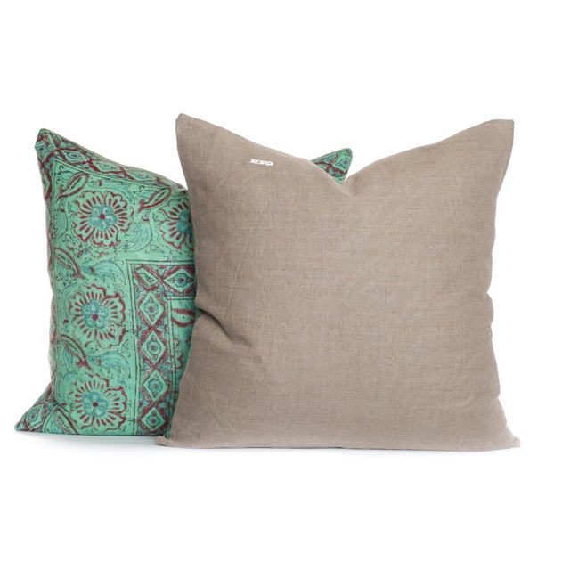Boho Chic Vintage 1970s Block Print Pillows - A Pair For Sale - Image 3 of 3