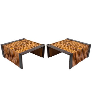 1970s Pair of Percival Lafer End Tables With Glass Tops For Sale