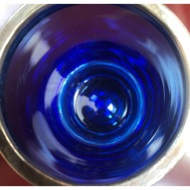 1950s 1950s Italian Blue With Chrome Rim Glass For Sale - Image 5 of 7