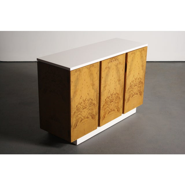 Milo Baughman Burl Wood 2-Tone Credenza Buffet For Sale - Image 11 of 11