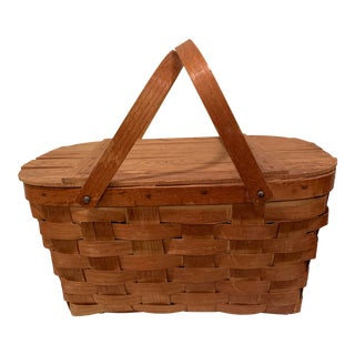 1960s Vintage Wooden Picnic Basket With Handles For Sale