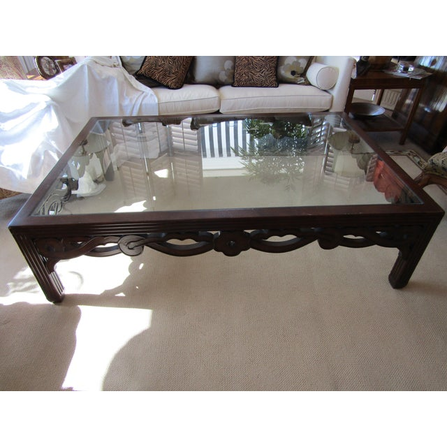 Transitional Glass Top Wood Cocktail Table - Image 2 of 4