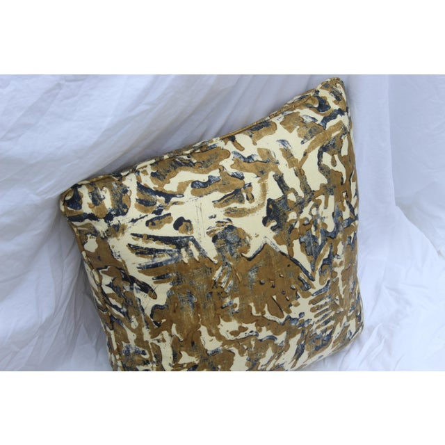 Contemporary Printed Linen Navy Blue and Bronze Down Pillows - a Pair For Sale In San Diego - Image 6 of 12