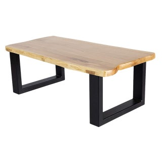 Calabria Live Edge Solid Oak Slab Coffee Table With Simple Metal Base For Sale