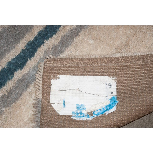 Circa 1960 Modern Danish Abstract Blue and White Wool Rya Rug - 5′7″ × 8′4″ For Sale - Image 4 of 5