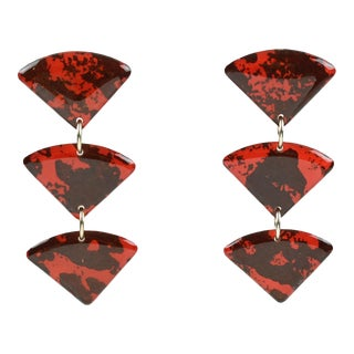 Italian Studio Dangling Lucite Pierced Earrings Three Triangle Red and Black For Sale