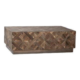 Natural Elm Parquet Coffee Table For Sale
