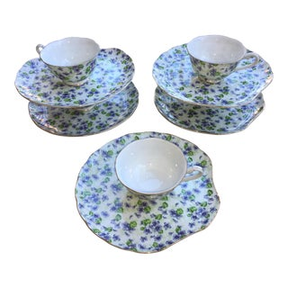 Lefton Violet Chintz Cup & Snack Trays - a Set of 5 Pairs For Sale