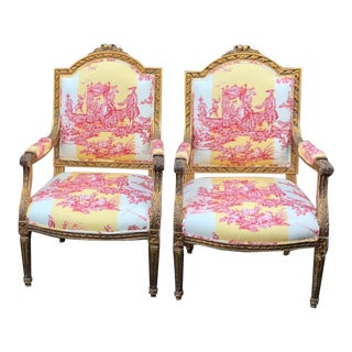 Pair of Antique Louis XVI Style Bergere Arm Chairs W Brunschwig & Fils Toile For Sale